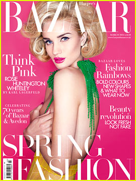 Rosie Huntington-Whiteley Covers Bare Breasts for 'Harper's Bazaar UK' March 2014