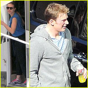 Scarlett Johansson: 'Captain America 2' Set with Scarred Chris Evans!