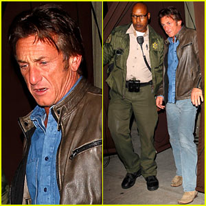 Sean Penn Escorted to Car By Armed Sheriff After Dinner Out