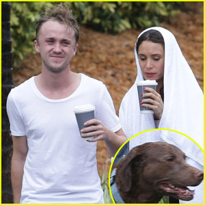 Tom Felton & Jade Olivia: Rainy Day Dog Walk