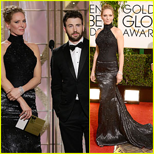 Uma Thurman & Chris Evans - Golden Globes 2014 Presenters