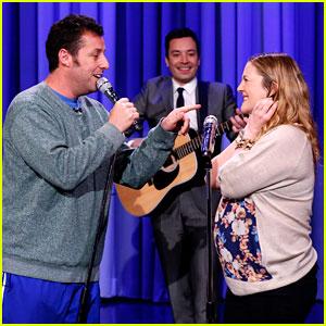 Adam Sandler Sings to Pregnant Drew Barrymore on 'Fallon'!