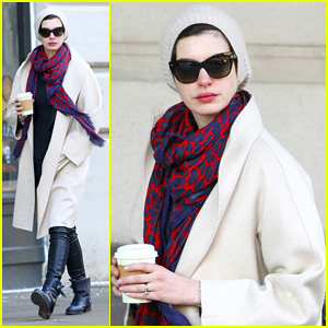 Anne Hathaway Braves Freezing Weather for Coffee Craving!