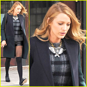 Blake Lively Wears Super Short Shorts in Freezing New York