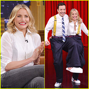 Cameron Diaz & Jimmy Fallon Share Huge Pants for 'Tonight Show' Dance!