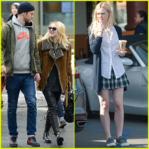 Dakota & Elle Fanning Enjoy Very Different Weather on Separate Coasts!