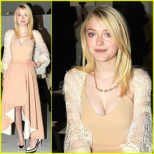 Dakota Fanning Shows Cleavage At Rodarte Fashion Show