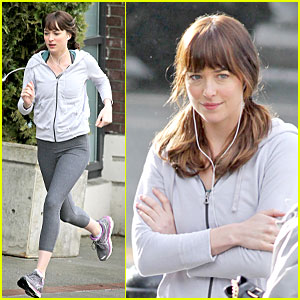 Dakota Johnson Runs for 'Fifty Shades of Grey' in Pigtails!