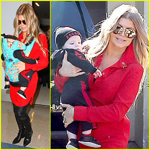 Fergie Wears Baby Carrier to Hold Axl at LAX Airport!
