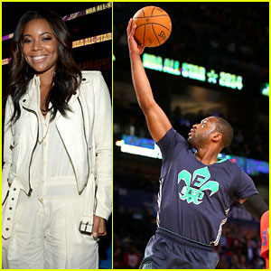 Gabrielle Union Cheers Dwyane Wade on at NBA All-Star Game!
