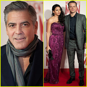 George Clooney & Matt Damon Continue Press Tour with 'Monuments Men' UK Premiere!