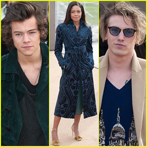 Harry Styles & Jamie Campbell Bower Attend Star-Studded Burberry Prorsum Fashion Show!