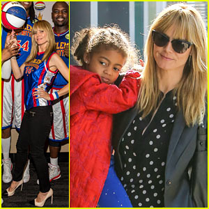 Heidi Klum Spins a Basketball with the Harlem Globetrotters!