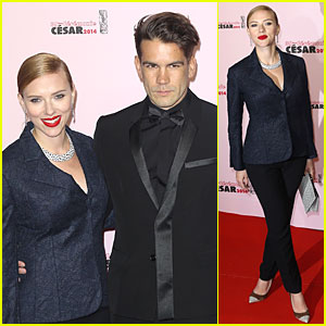 Honoree Scarlett Johansson Brings Fiance Romain Dauriac for Cesar Awards!