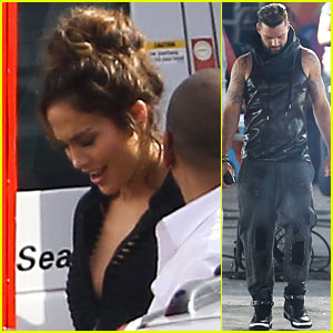 Jennifer Lopez & Ricky Martin: 'Adrenalina' Music Video Set Pics!
