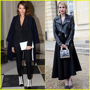 Jessica Alba & Emma Roberts: Christian Dior Fashion Show!