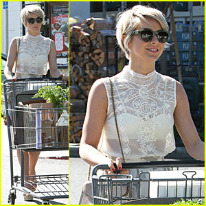 Julianne Hough Flashes White Bra in Sheer Top at Bristol Farms!