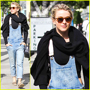 Julianne Hough Sports Denim Overalls for Newsroom Brunch!