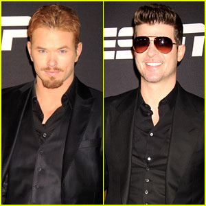 Kellan Lutz & Robin Thicke: ESPN Super Bowl Party 2014