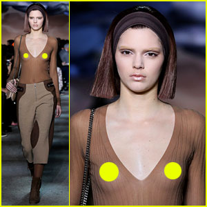 Kendall Jenner Bares Nipples in Sheer Top at Marc Jacobs Show