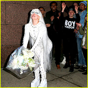 Lady Gaga is a Bride? See Her Throwing a Bouquet of Flowers!