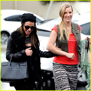 Lea Michele & Heather Morris Walk Arm-in-Arm in Rainy L.A.!