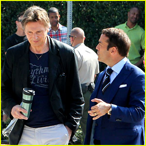 Liam Neeson Films 'Entourage' Movie Scenes with Jeremy Piven
