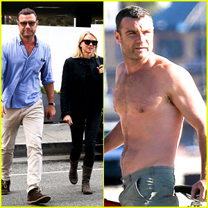 Liev Schreiber Bares Hot Shirtless Bod for Family Bike Ride!