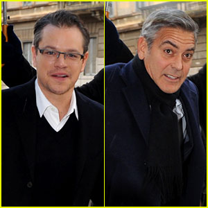 Matt Damon & George Clooney Get Personal Umbrella Holders in Milan!
