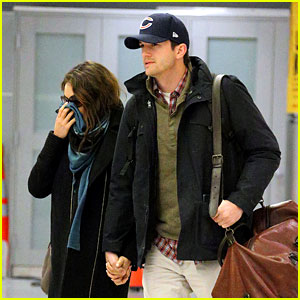 Mila Kunis & Ashton Kutcher Hold Hands Upon Arrival in NYC!