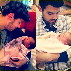 Nick & Joe Jonas Meet Brother Kevin's Baby Girl Alena!