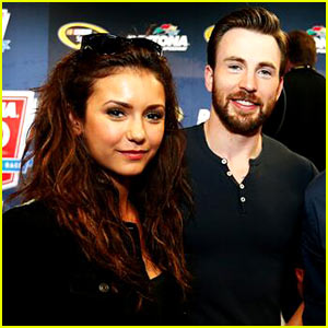 Nina Dobrev & Chris Evans Watch the Daytona 500!