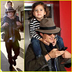 Orlando Bloom Gives Flynn a Shoulder Ride at the Airport!