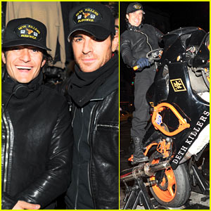 Orlando Bloom Pops a Wheelie, Meets Up with Justin Theroux at Deth Killers Event