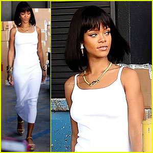 Rihanna Wears Sleek White Dress to Shop at Moncler