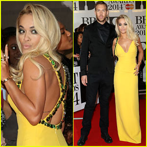 Rita Ora & Calvin Harris - BRIT Awards 2014 Red Carpet