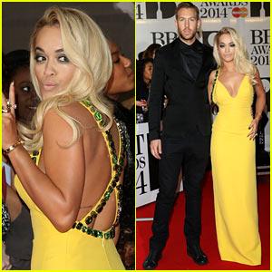 Rita Ora & Calvin Harris - BRIT Awards 2014 Red Carpet