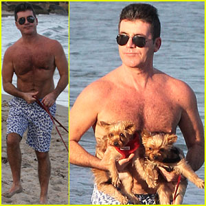 Shirtless Simon Cowell Tends to Squiddly & Diddly in Miami!