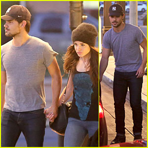 Taylor Lautner & Marie Avgeropoulos Hold Hands for Dinner!