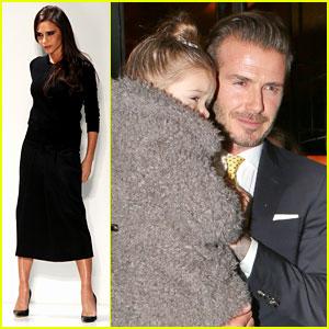 Victoria Beckham: David & Kids Sit Front Row at Fashion Show!