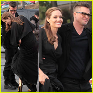 Angelina Jolie Trips on Her Dress After the Spirit Awards 2014