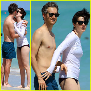 Anne Hathaway & Husband Adam Shulman Display Tons of PDA at the Beach!