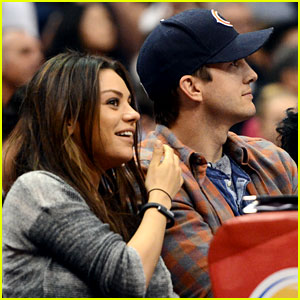 Ashton Kutcher & Mila Kunis Kiss on the Clippers' Kiss Cam - See the Video Here!