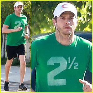 Ashton Kutcher Goes Green for St. Patrick's Day Jog!