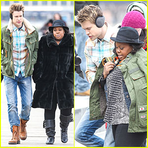 Aww! Chord Overstreet Keeps Amber Riley Warm with His Jacket!