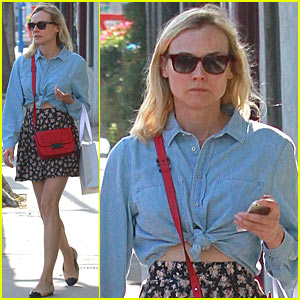 Diane Kruger Ties Up Her Shirt to Reveal Her Flat Stomach