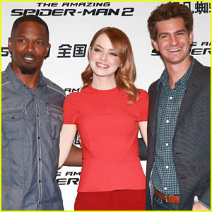 Emma Stone, Andrew Garfield, & Jamie Foxx Are a Super Trio at 'Amazing Spider-Man 2' Beijing Photo Call!