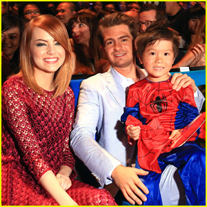 Emma Stone & Andrew Garfield Hang with Adorable Little Spider-Man at Fan Event!