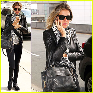 Gisele Bundchen Gets Down to Serious Business at Logan Airport!