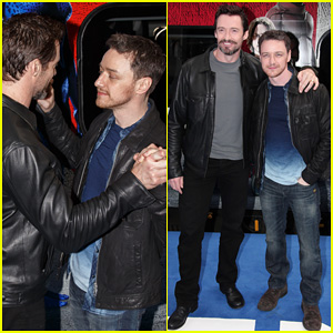 Hugh Jackman & James McAvoy Embrace Bromance at 'X-Men: Days of Future Past' Train Unveiling!